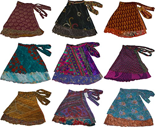 (Short Size Two Layer Reversible Wrap Around Art Skirts,Random Assorted,One size)
