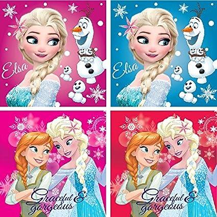 Disney Frozen Elsa Character Kid unidades, 4 toallas de cara de 30 x 30 cm