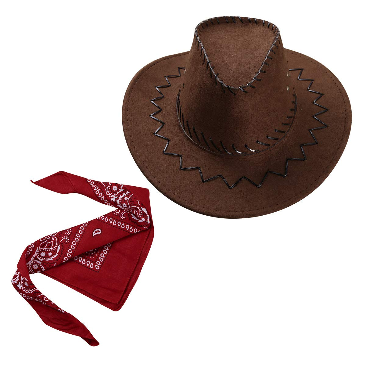 dPois Kids Boys' Western Cowboy Drawstring Felt Hat with Bandanna Fancy Dress Up Accessories 2Pcs Set