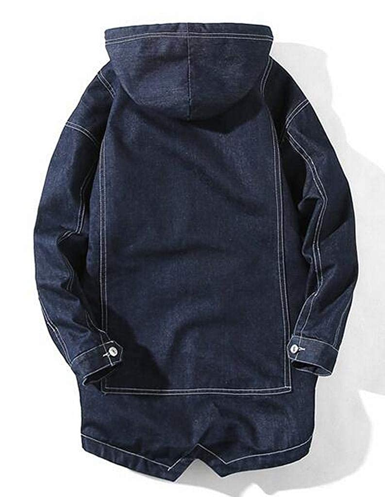 Fubotevic Men Hoodie Winter Washed Denim Cotton-Padded Long Quilted Jacket Coat Outerwear