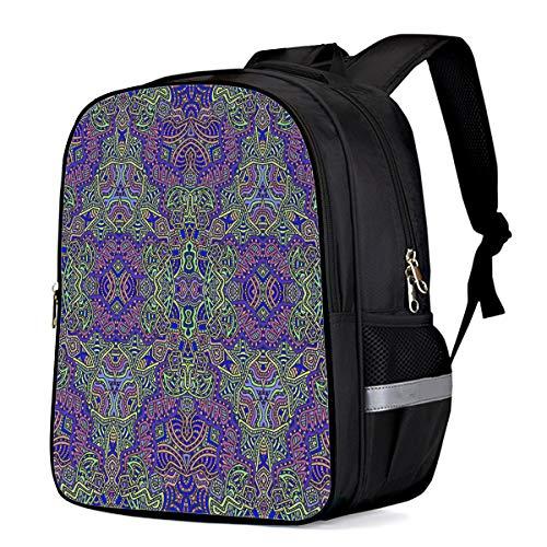 Backpack for Children/Boys/Girls Colorful Interlaced Floral Pattern 3D Printing Shool Book Bag Daypacks Satchel Rucksack Hiking Travel Shoulders Bag Fits Laptop- Small