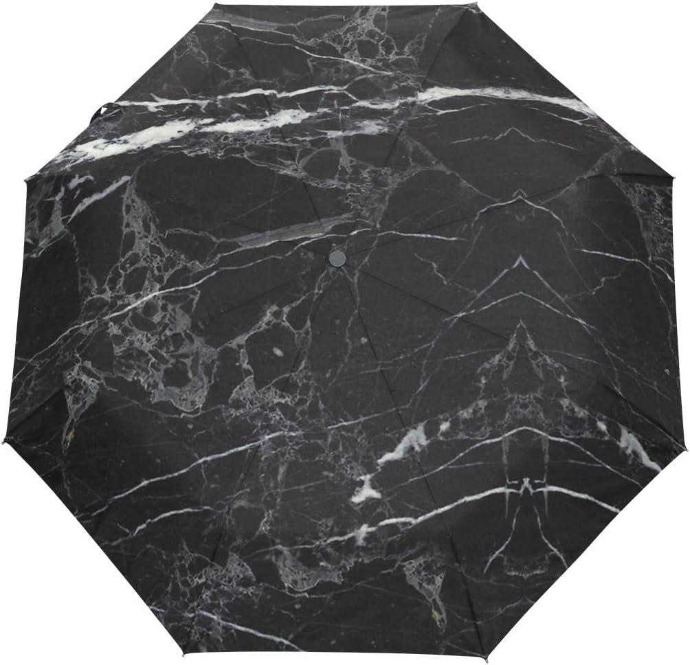 Black Marble Abstract fashion print cute Windproof automatic tri-fold umbrella sun UV protection Sun umbrella