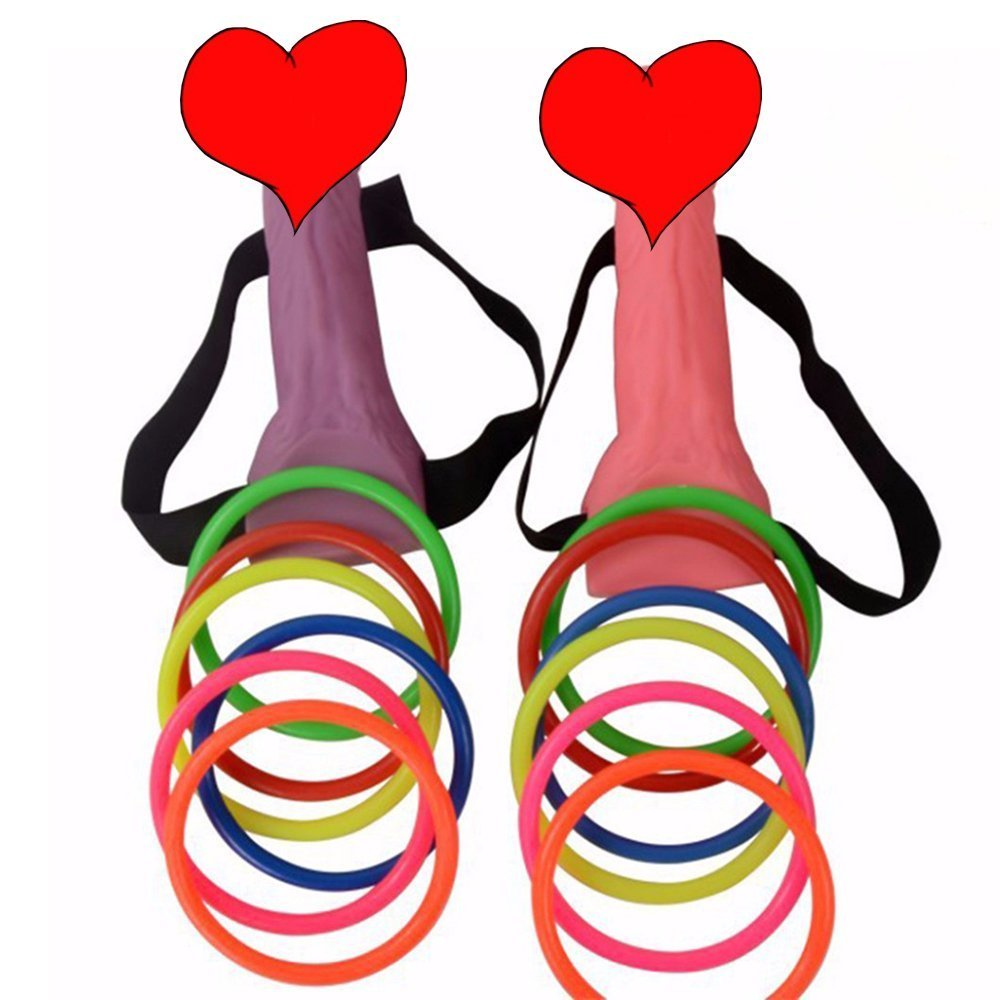 TS-Dany Bachelorette Party Favor Ring Toss Hoopla Games Dick Heads Funny Adult Game Hen Night Party Set Supplies