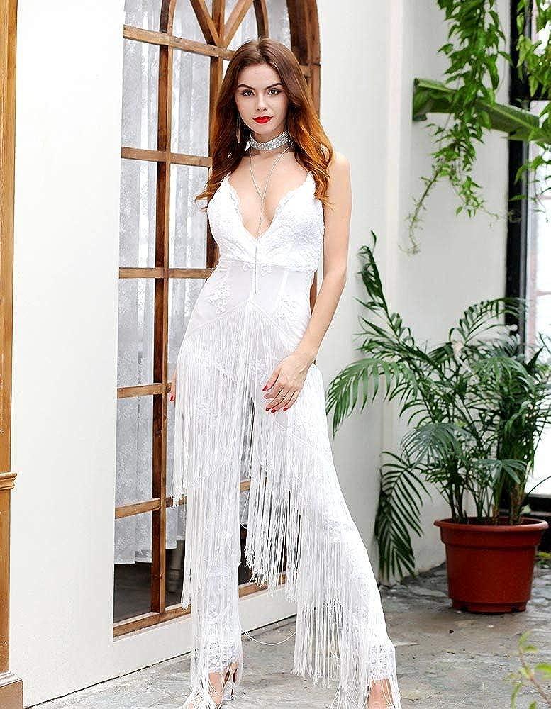 Tuta Donna Estivi Vintage Smanicato Fashion V-Neck con Paillettes Overall Completi Moda Senza Schienale Tassels Pantalone Zug Tutine