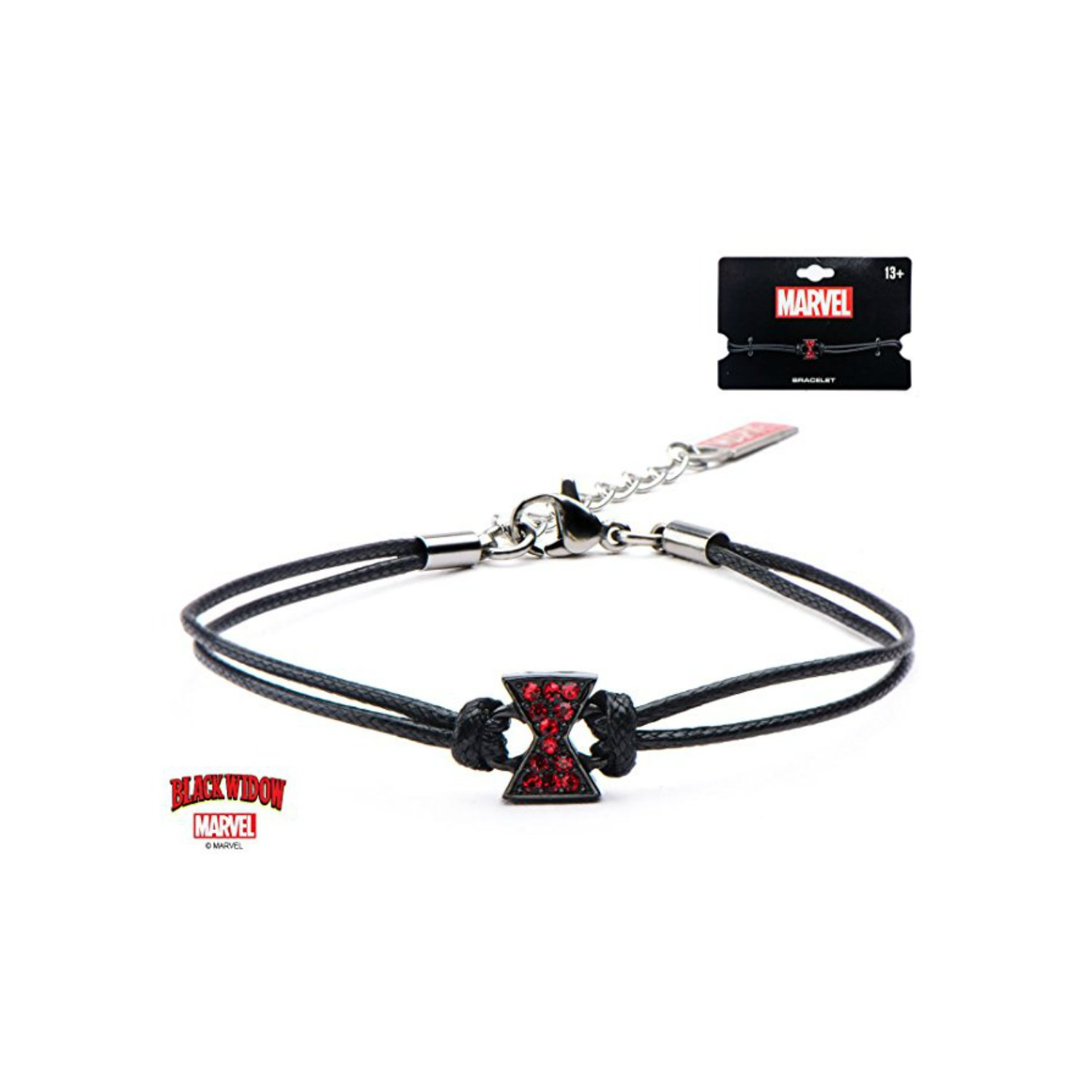 Athena Brand Marvel Black Widow Logo Leather Cord Bracelet in Gift Box