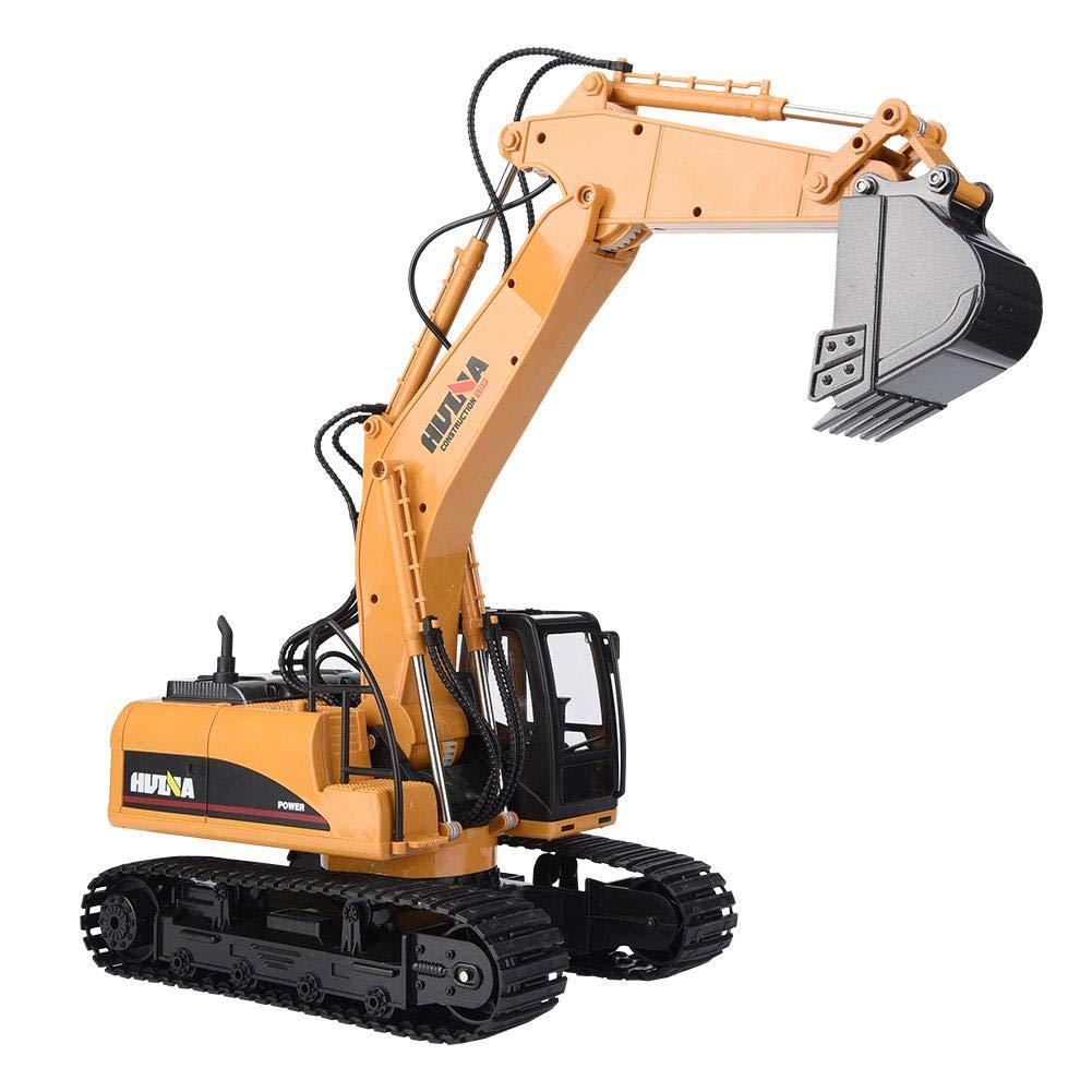 Dilwe Excavadora RC, HUINA 1550 15 Canales Control Remoto Excavador Camión 1/14 RC Ingeniería de construcción de Coches con Sonido Ligero Vehículo Juguete de Regalo para Niños