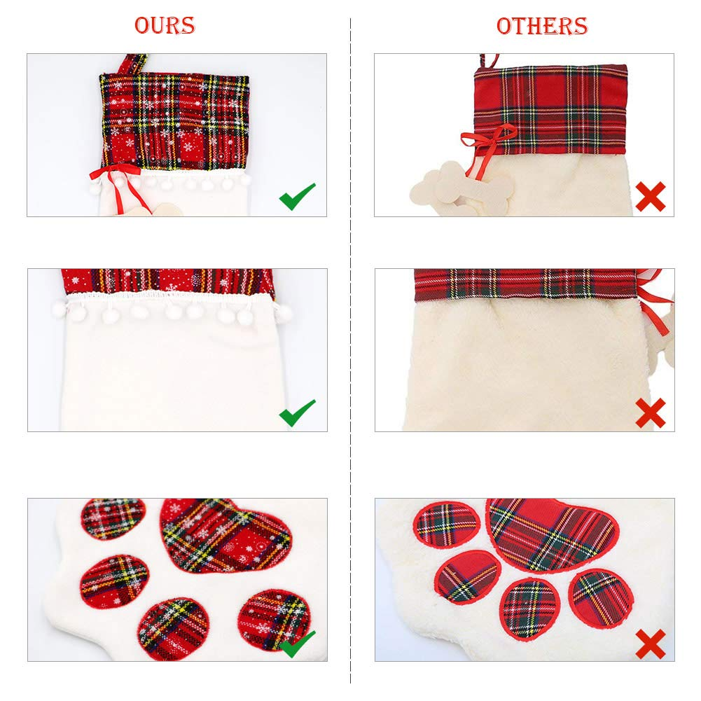 18 x 11 Inch Hanging Christmas Stockings with Large Red Buffalo Plaid Dog Paw for Christmas Fireplace Tree Decorations OurWarm Pet Dog Christmas Stocking