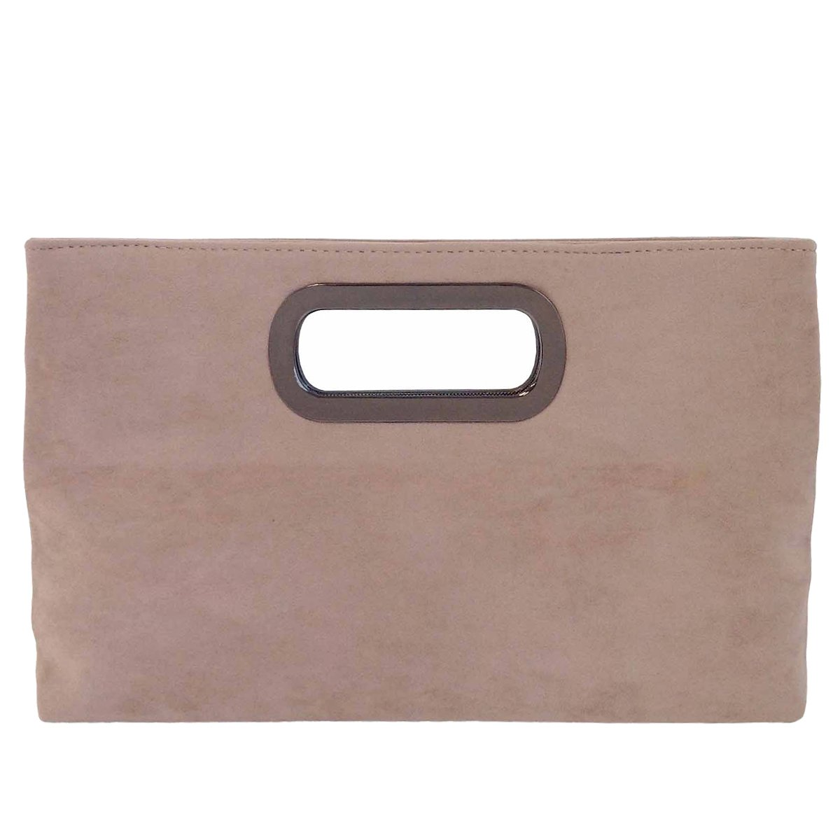 Top Handle Faux Suede Clutch, Taupe