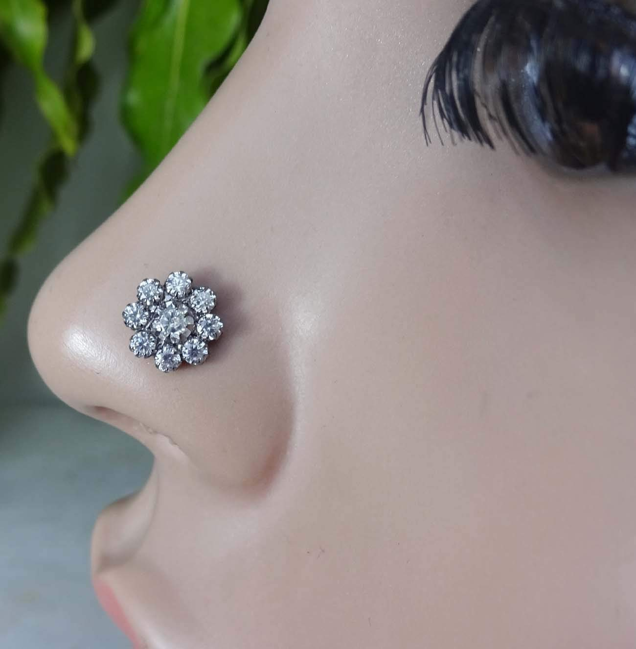 Sterling Silver Nose Stud Silver Nose Stud Nose Stud Nose Ring Stud Nose Stud Silver 20g Silver Nose Piercing Jewelry Indian Nose Stud