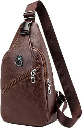 Bolsa tiracolo masculina de couro PU com alça transversal e zíper para lazer, mochila tiracolo para negócios para fones de ouvido USB (marrom escuro)