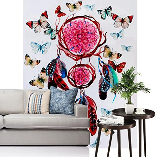 Vibola Bohemia Feather Printed Beach Towel Mandala Tapestry India Decorative Butterfly Wall Hanging Tapestries 150 130cm Hanging Towel For Home Decor