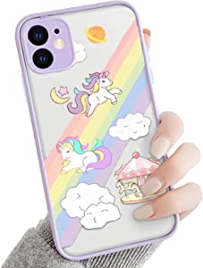 OTTARTAKS iPhone 8 Plus Case Clear Unicorn Design, Cute iPhone 7 Plus Case for Girls Woman 3D Cartoon, Slim Fit Shockproof PC Back and Soft TPU Bumper Protective Case for iPhone 7 Plus/ 8 Plus, Purple