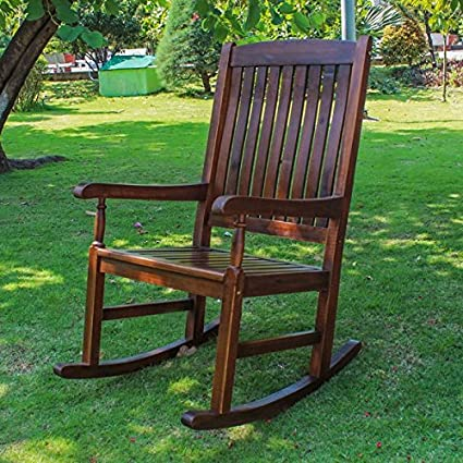 International Caravan Traditional Porch Rocking Chair Crafted From Solid Acacia  Wood For Beauty And Durability Part 93