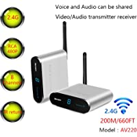 MEASY Wireless AV Sender Transmitter and Receivers Audio Video AV220 2.4GHz up to 200M / 660FT, Plug and Play…