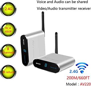 MEASY Wireless AV Sender Transmitter and Receivers Audio Video AV220 2.4GHz up to 200M / 660FT, Plug and Play, Wirelessly Transmit Extender Kit