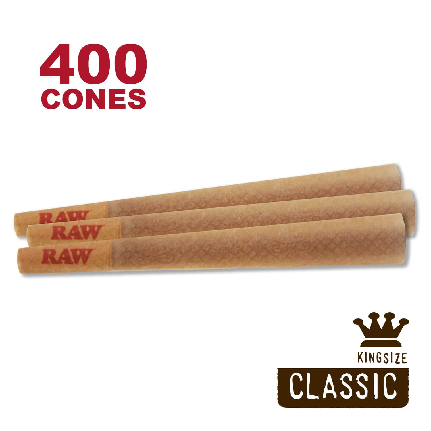 RAW 400 Classic King Size Cones - W Gallery Scoop Sticker - Discreet Box - Pure Hemp 109mm Pre Rolled Cones - 26mm Filter Tips - Natural Brown Unbleached Unrefined Rolling Papers - Bulk Pack Bundle