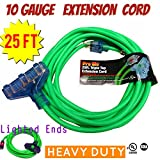 Century Contractor Grade 25 ft 10 Gauge Power Extension Cord Indoor Outdoor 10/3 Plug, Triple Tap Extension Cord With Lighted Ends heavy duty extension cord (25 ft Triple Tap Extension Cord, green)