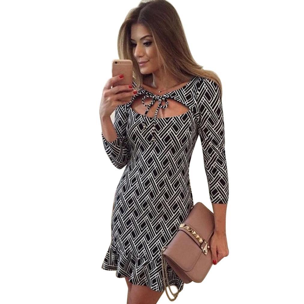 GOTD Women Halter Bowknot Party Evening Bodycon Slim Three Quarter Mini Dress (L)