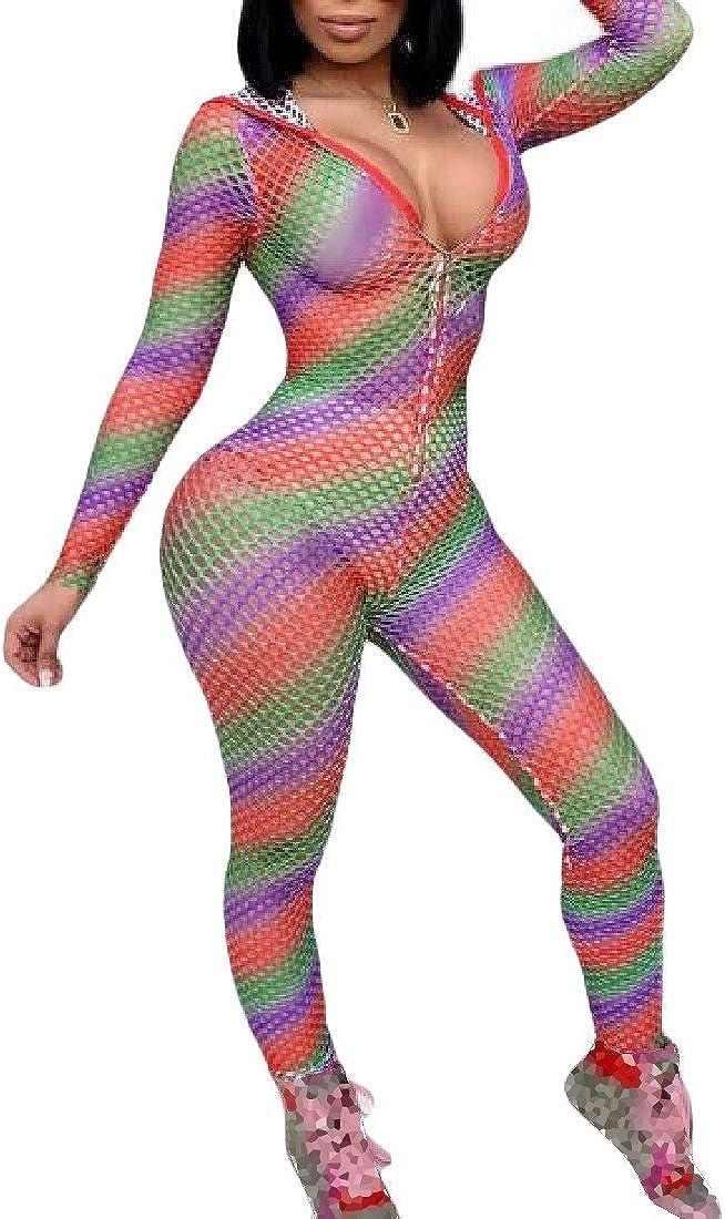 Abetteric Womens Vogue Perspective Rainbow Hooded Pants Set Jumpsuit