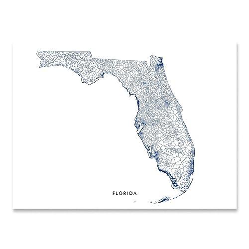 Amazon Com Florida State Map Print Fl Geometric Wall Art Decor