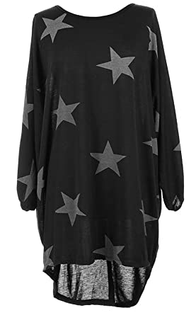 ff60bf8b05 Yidarton Women s Long Sleeves Lagenlook Baggy Tunic Tops Loose Batwing  Stars Print T Shirt Dresses (