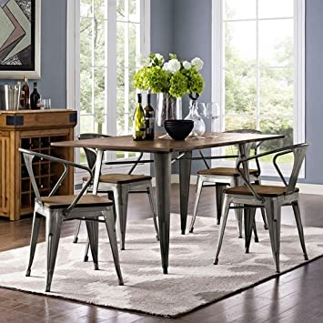 Modway Alacrity Rectangle Wood Dining Table  Brown  59 quot. Amazon com  Modway Alacrity Rectangle Wood Dining Table  Brown  59