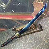 "Samurai sword,katana(Folding steel blue blade,Blue Scabbard,Alloy Tosogu)Full tang,Length 35"""