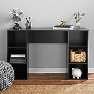 Mainstays Student Desk, Black (6 Cube Storage Desk, True Black Oak)