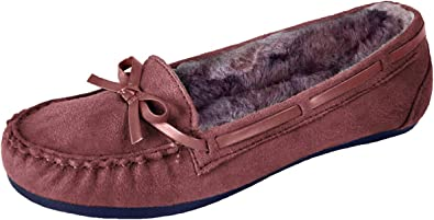 New Ladies Burgundy Leather Suede Fur Slip On Moccasin Slippers Loafers Shoes