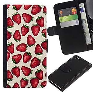 Planetar® Modelo colorido cuero carpeta tirón caso cubierta piel Holster Funda protección Para Apple (4.7 inches!!!) iPhone 6 ( Strawberries Love Berries Summer Red )