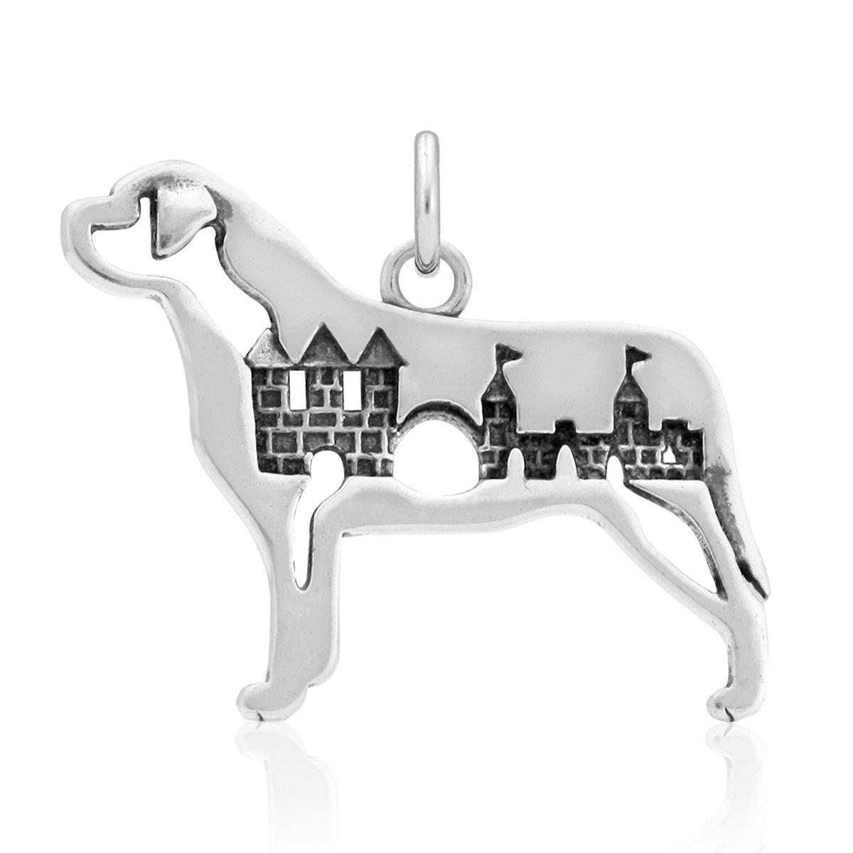 Sterling Silver Mastiff Pendant Body with Castle