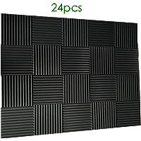 """24 Pack- Charcoal Acoustic Panels Studio Foam Wedges 1"""" X 12"""" X 12"""" (24pcs, black)"""