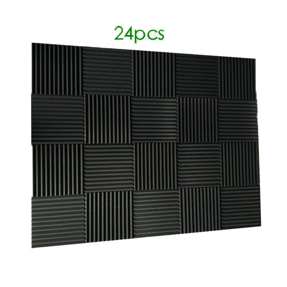 24 Pack- Charcoal Acoustic Panels Studio Foam Wedges 1 X 12 X 12 (24pcs, black) Burdurry