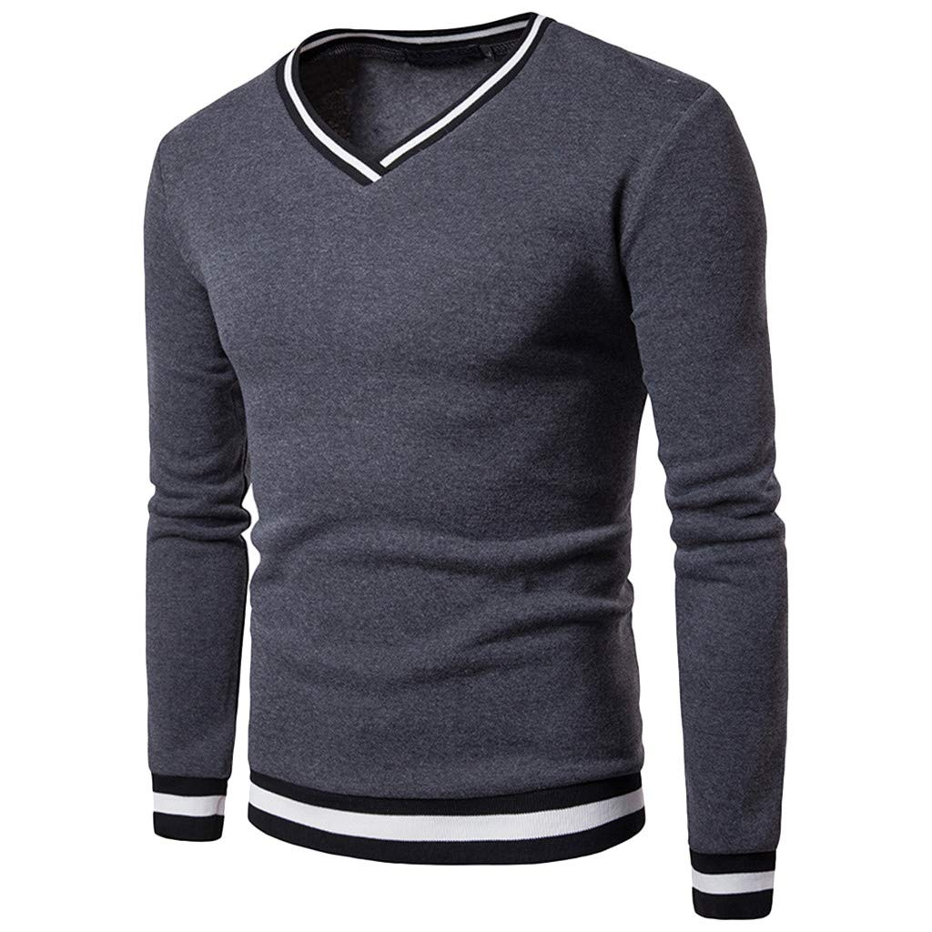 GREFER Men's Long Sleeve Top Silm Casual V Neck Patchwork Blouse T Shirt Dark Gray by GREFER