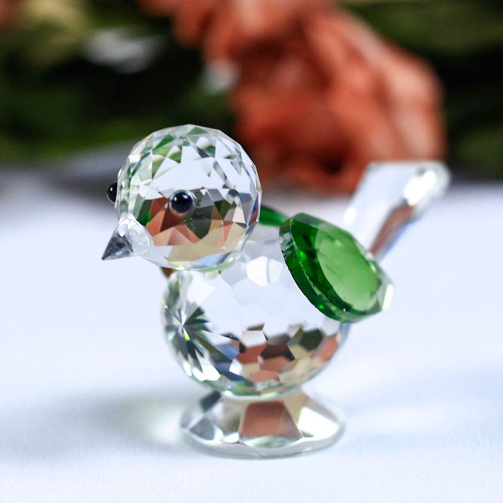 DeemoShop 1 Piece Crystal Cute Bird Model Sparrow Figurine Animal Glass Paperweight DIY Ornaments Gifts Home Decoration Accessories