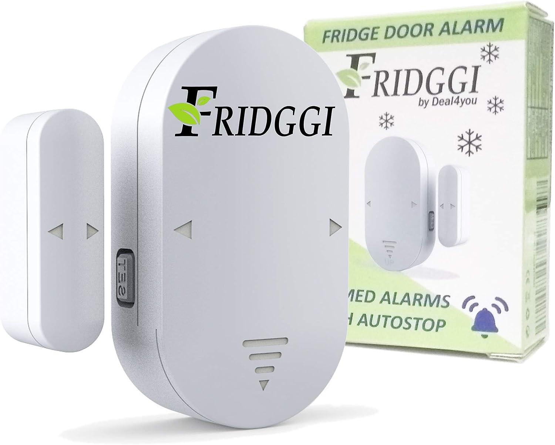 Fridggi Open Door Alarm with delay, Fridge Door alarm when left open, 60 seconds delay Alert (white-pack1)