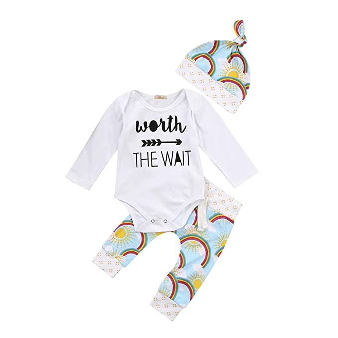7d8b2f496 Amazon.com: Fashion New Cute Newborn Baby Girls Boys Rainbow Clothes Long Sleeves  Romper Jumpsuit +Printed Pants +Hat Outfits Set: Clothing