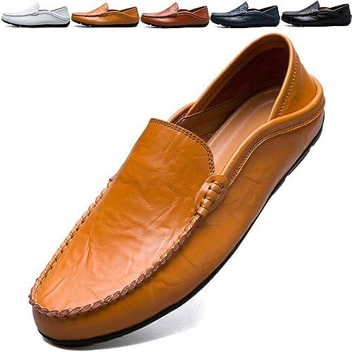 BOLOG Herren Mokassins Slipper Slip On Fahren Schuhe Leder Loafers Handgefertigt Flache Business Schuhe Halbschuhe Bootsschuhe
