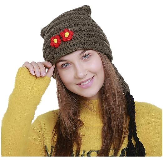 TWGONE Winter Slouchy Beanie Gloves for Women Knit Warm Hats Wool Braid  Floral Beanie Hat Ski 62ffcc4f4b0