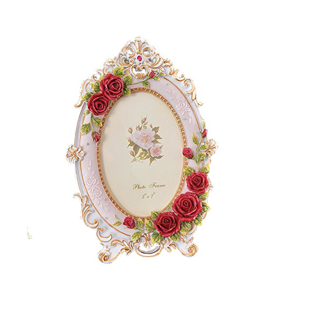 Silence Shopping Retro Vintage Rose Flower Pink Home Decor Oval Photo Frame Picture Resin 5''x7'' S142