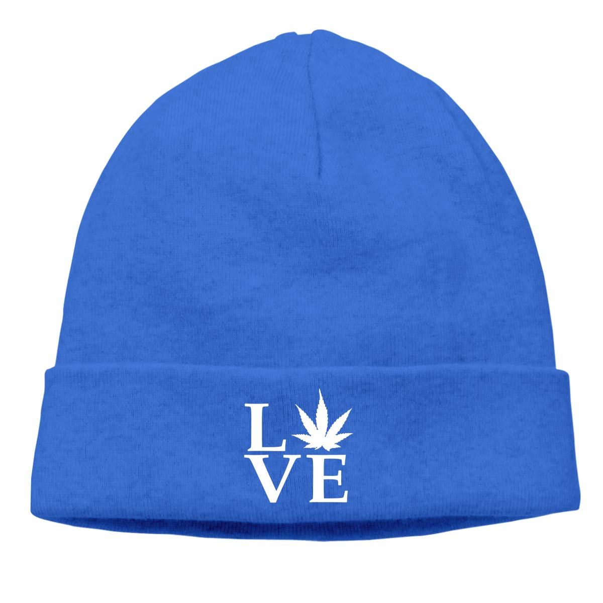 Simoner Love Pot Weed Pot Leaf Warm Stretchy Solid Daily Skull Cap,Knit Wool Beanie Hat Black