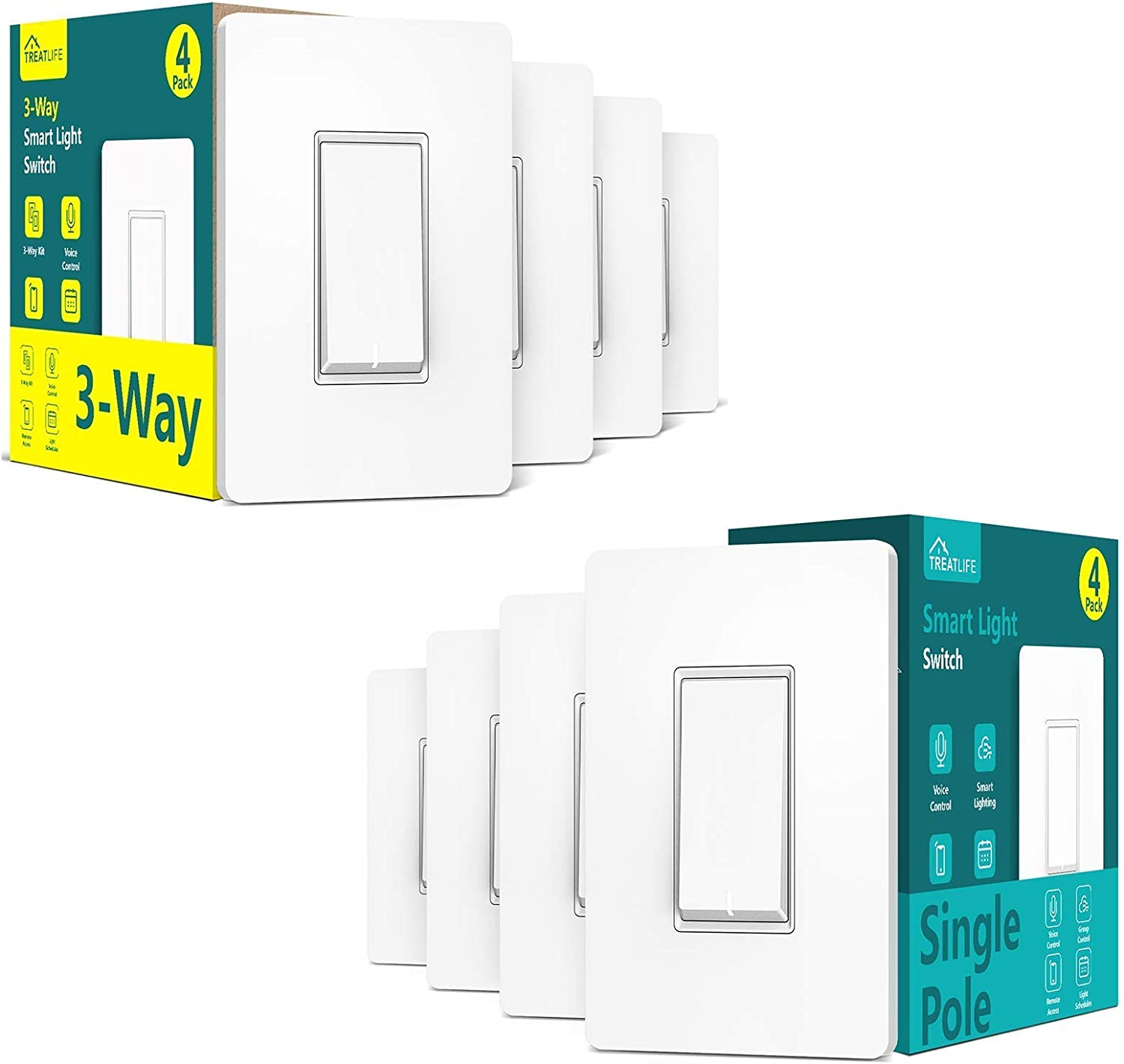 Smart Single Pole On/Off Switch 4Pack+3-Way Switch 4Pack Bundles