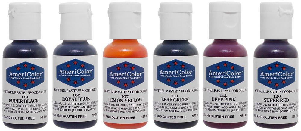 Amazon.com : AmeriColor Basic Six Kit Soft Gel Paste Food Color ...
