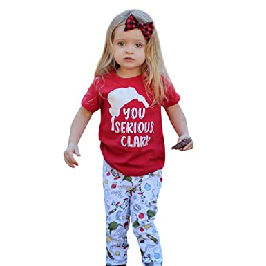 Kasien Christmas Baby Outfits Set, Toddler Kids Baby Girl Letter T Shirt  Tops+Pants - Amazon.com: Kasien Christmas Baby Outfits Set, Toddler Kids Baby