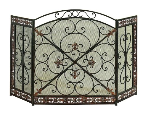 "Deco 79 71822 Metal Fire Screen, 52"" W x 31"" H"", Dark Green/Silver"