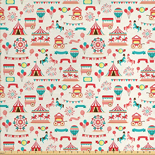 Lunarable Circus Fabric by The Yard, Carnival Ferry Wheel Carousel Balloons Ice Cream Vendor Vintage Style, Decorative Fabric for Upholstery and Home Accents, 1 Yard, Seafoam Dark Coral Yellow