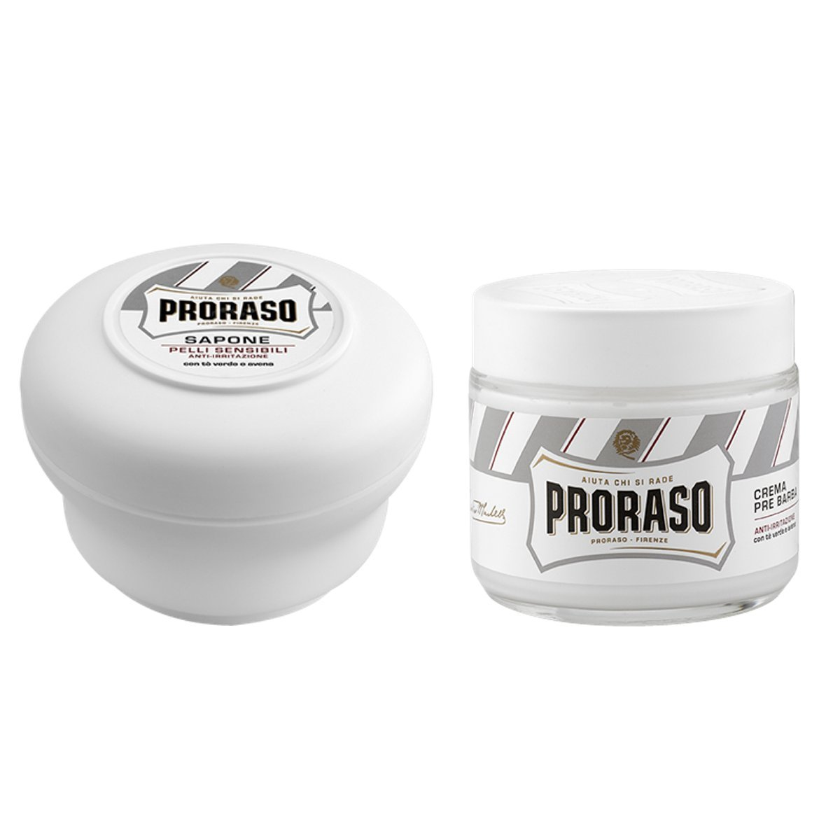 Proraso Shaving Soap and Pre Shave Twin Pack - White Sensitive Green Tea and Oatmeal