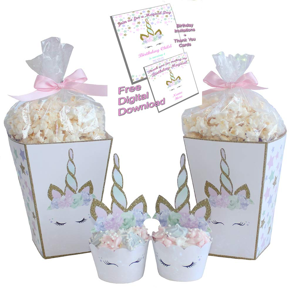 6ebb7cb801 Unicorn Cupcake Topper and Wrapper with Popcorn Boxes - Premium Product  Made in the USA - Serves 12  Amazon.com  Grocery   Gourmet Food