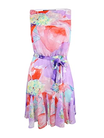 Lauren Ralph Lauren Womens Floral Print Sleeveless Casual Dress Pink 4