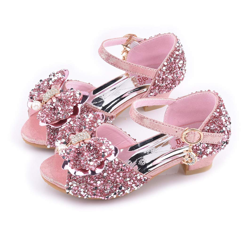 Raylans Kids Girls Sequin Sandals Princess Party Crystal High Heels Dress Shoes